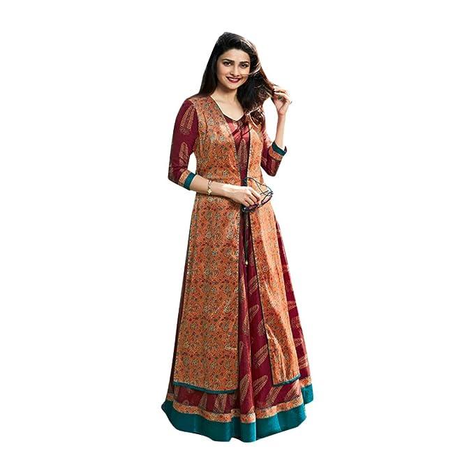 Amazon.com: Anarkali Salwar - Traje largo para fiesta, 100 ...
