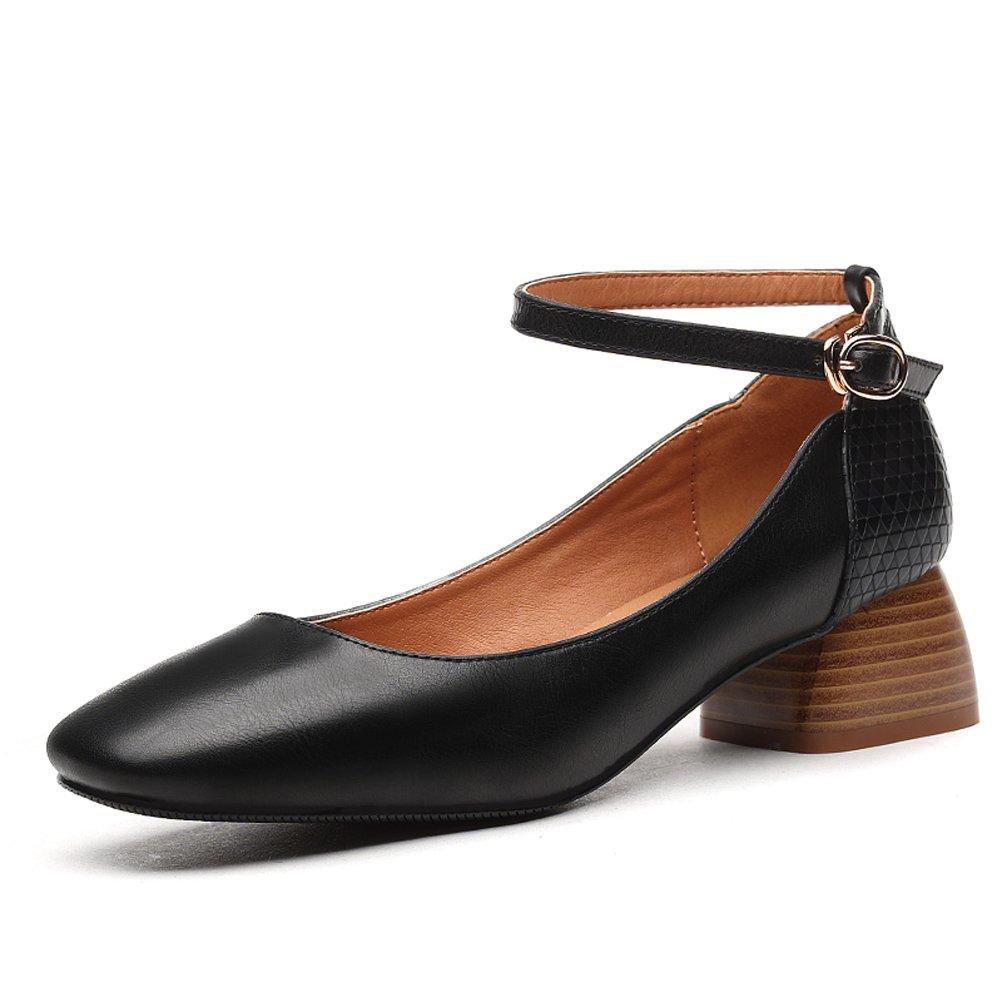 Youxuan Women's Elegant Dress Shoe Square Toe Ladies Gorgeous Ankle Strap Pump Black 8M US