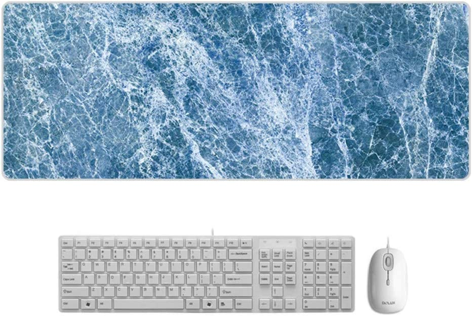 Large Padded Waterproof Non-Slip Keyboard Pad SLM-max Mouse Pad Blue Marble Style Desk Pad Exquisite Speed Game,900x400mmx5mm