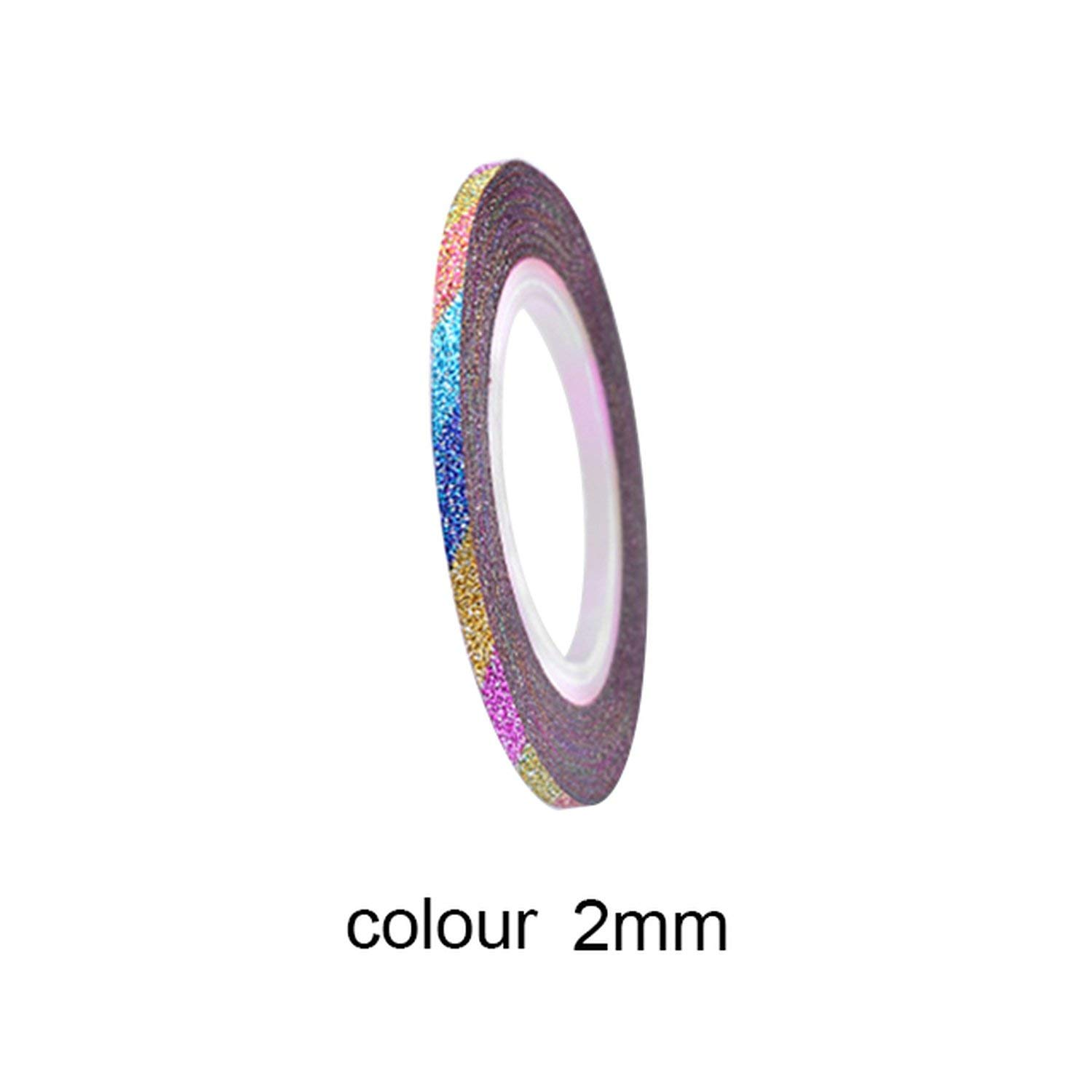 1Roll 2Mm Nail Art Multicolor Glitter Stripping Tape Line Strips Decor Tools Nail Sticker Diy Beauty Accessories,Multicolor by Mango-ice