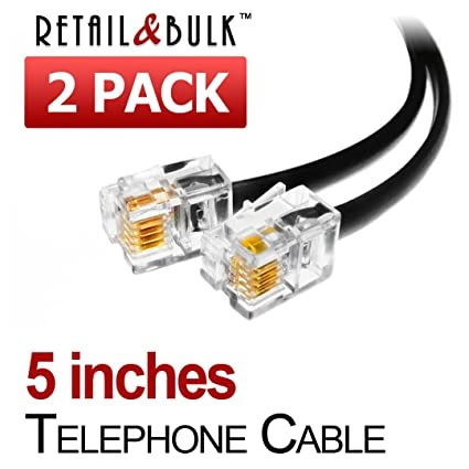 amazon com 2 pack 5 inch short telephone cable rj11 male to male rh amazon com