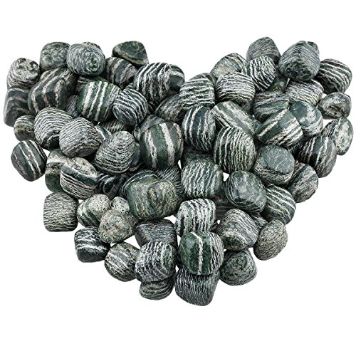 rockcloud 1 lb Tumbled Polished Stones Gemstone Supplies for Wicca,Reiki,Healing Crystal,Green Zebra Jasper