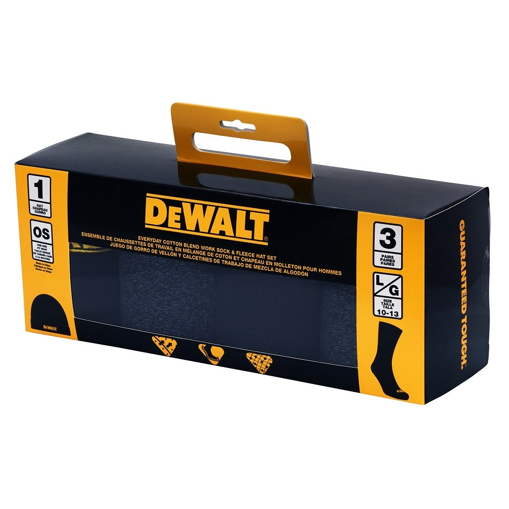 Amazon.com: DeWALT 3 Pair Everyday Cotton Blend Work Crew Socks and Fleece Hat Set,10-13: Clothing