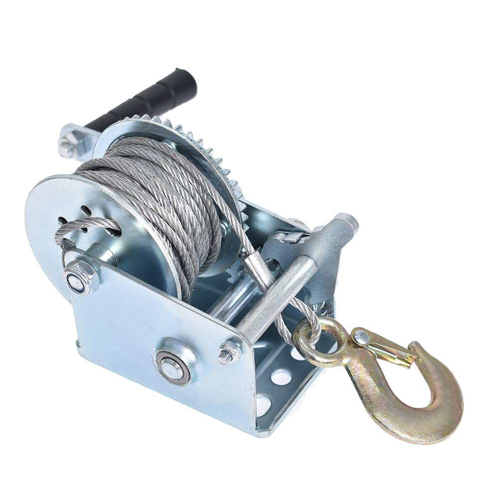 Heavy Duty Hand Winch 600Lbs Hand Crank Strap Gear with 8m Steel Wire Manual Operated Two-Way Ratchet ATV Boat Trailer Marine for Trailering or Loading Boats Personal Watercraft and Lawn Equipment