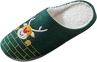 Dermanony Unisex Home Slippers Winter Short Plush Breathable Sweat-Absorbing Non-Slip Slippers Indoor Outdoor Shoes