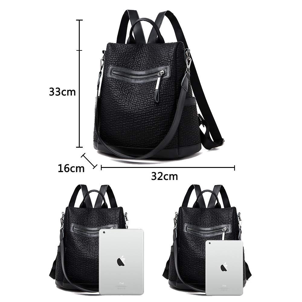 Coolives dam stöldsäker ryggsäck väska handväska casual dagväska axelväska för tonårsflickor dam svart enkel svart