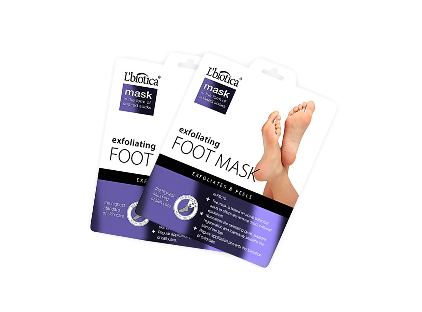 L'Biotica Exfoliating Foot Mask - Peel off Dead Skin, Remove Callus and Corn, Exfoliating Foot Peel Spa Mask For Soft Touch Baby Foot, Just 2 Weeks -2 Pair