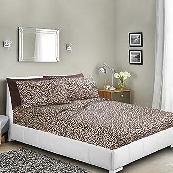 Printed Bed Sheet Set, Queen   Leopard   By Clara Clark, 6 Piece Bed