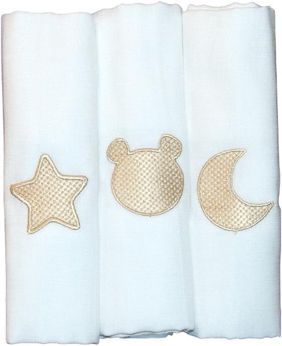 Pack de 3 Gasas Muselinas Bordada para Bebé, 100% algodón - Color ORO: Amazon.es: Bebé
