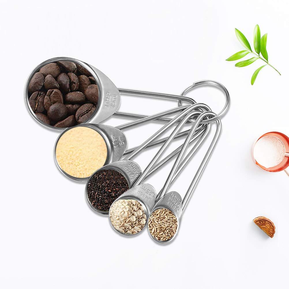 BESTONZON 5 cucharas medidoras de Acero Inoxidable para Hornear cucharillas de cucharillas para Ingredientes Secos y l/íquidos sabores