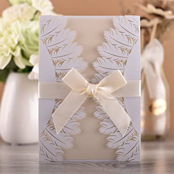 Amazon Com 50 X White Chic Invitation Cards Hollow Leaves Cover
