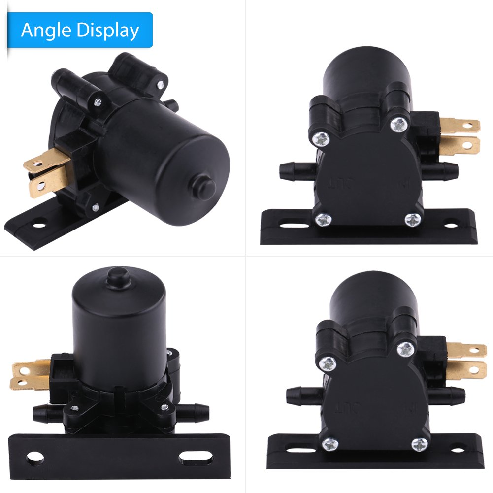 Cuque 12V Universal Windshield Windscreen Wiper Washer Water Pump Motor for Car Van Bus Truck Replacement Parts for Automotive Cleaning