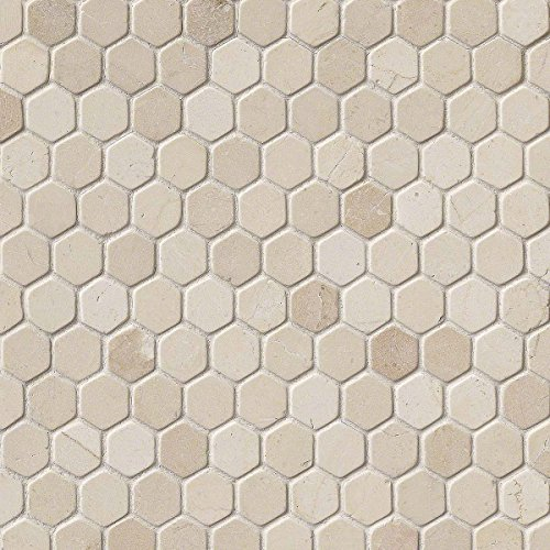 Crema Marfil 11.1 In. X 11.5 In. X 10mm Tumbled Marble Me...