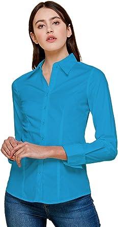 Blue Age Womens Basic Button Down Shirt Long Sleeve Dress Shirts Slim Fit (S-3X)