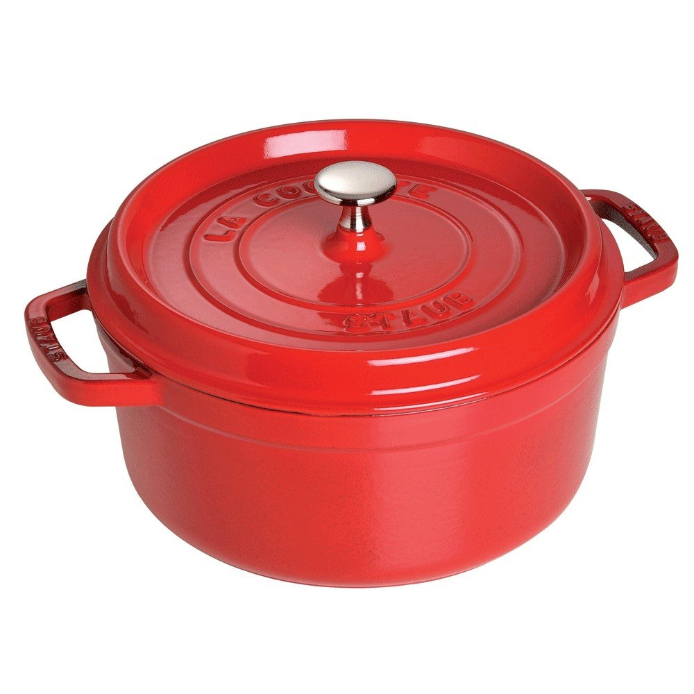 Staub 1102606 Cast Iron Round Cocotte, 5.5-quart, Cherry