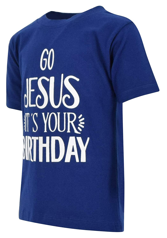Unique Baby Boys Go Jesus Its Your Birthday Christmas Shirt Navy Blue