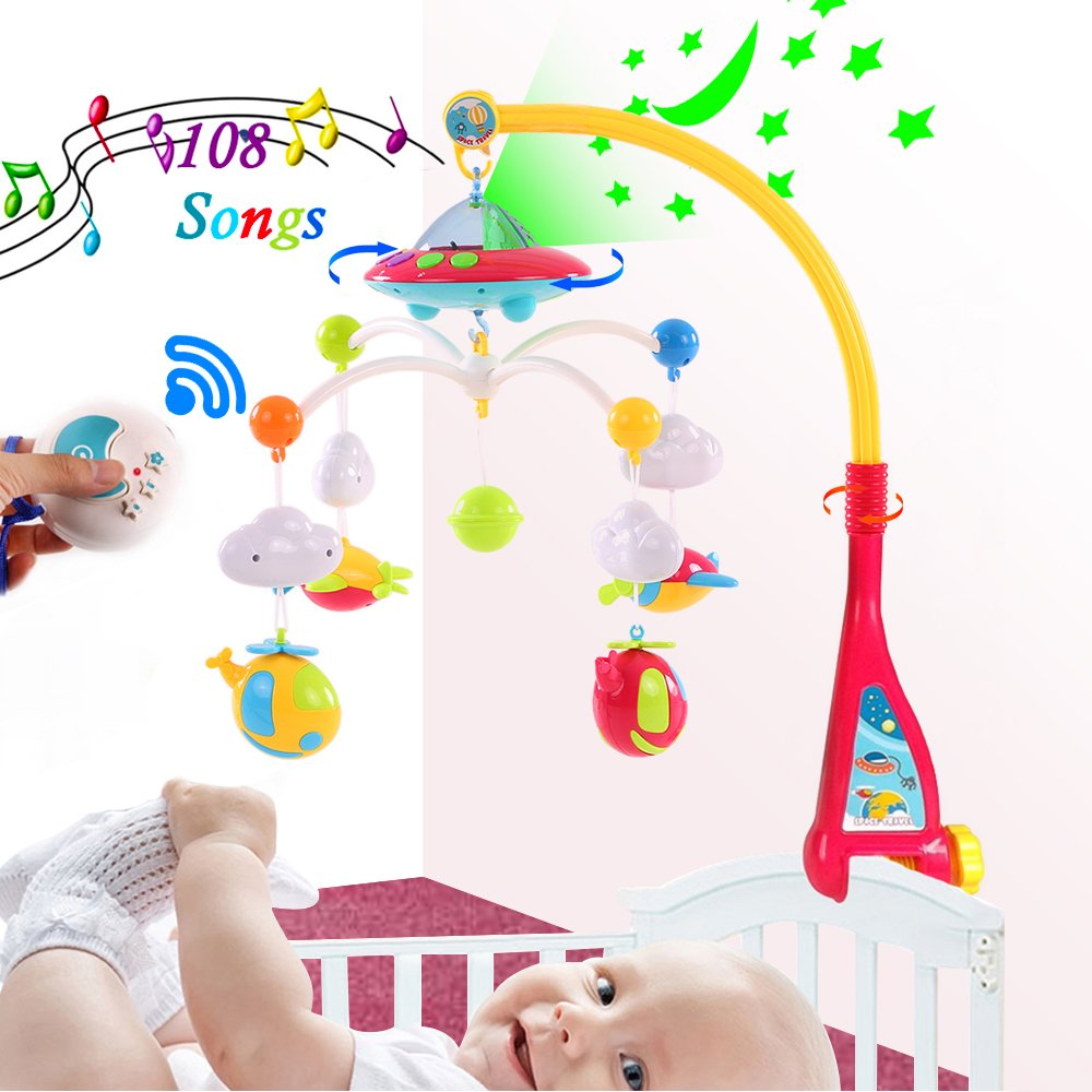 Baby Crib Mobile Music Box, Hanging Projection Light Toys with Remote Control, Rotating Musical Projector Toy for Infant, Battery Operated Projecting Planet to Ceiling, Newborn Bed Airplane Lights