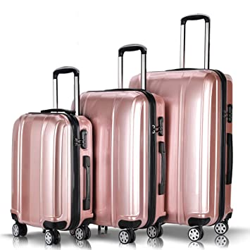 b62e70ca5 Amazon.com | Goplus 3Pcs Luggage Set, Hardside Travel Suitcase, 20