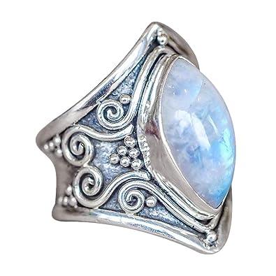 8b5b5c8acf Bague antique de fiançailles avec des diamants naturels rubis naturels pour  femmes éblouissantes (Argent3,