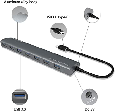 Wavlink 7-Port USB Hub,Type-C to USB3.0  Aluminum Hub /& 5V//4A Adapter,Multi Dock