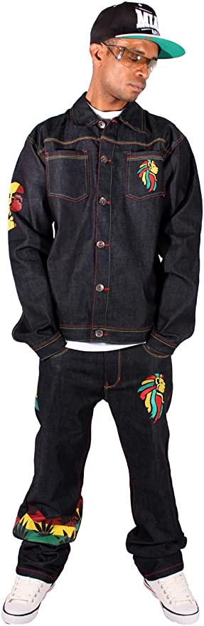 Money Talks Mens Boys Rasta One Love Hip Hop Denim Jacket /& Jeans Set Is Time