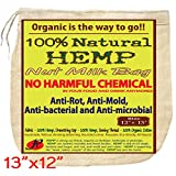 P&F All Natural Nut Milk Bag - No Harmful Chemical - Anti-Rot, Anti-Mold from Pure Hemp Fabric - Super Healthy Food Strainer - Reusable Almond Milk Bag | Cold Brew Coffee Filter | 13 X 12-Inches