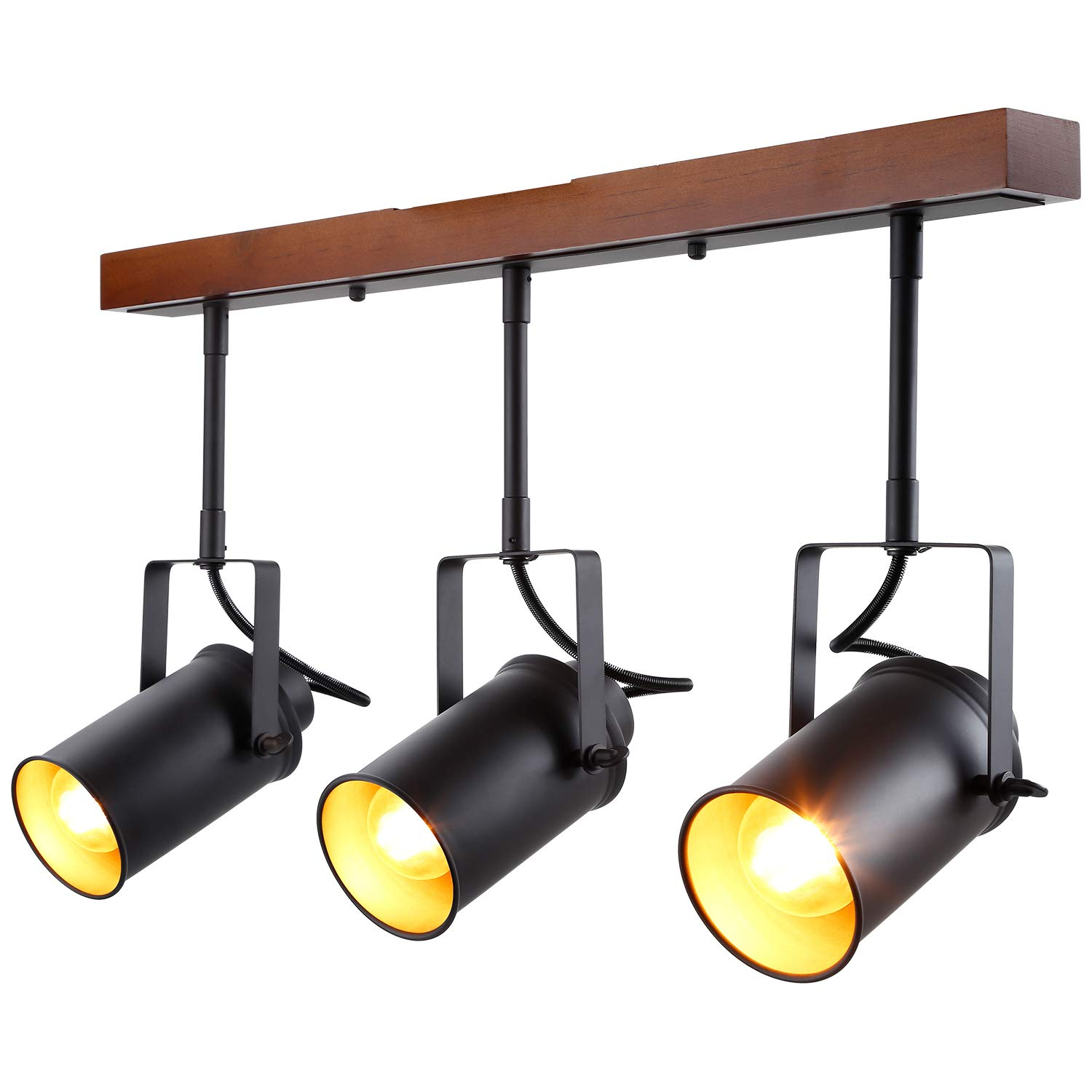 LEONLITE Track Light with Wood Ceiling Base, 3-in-1 Spotlight, Retro Industrial Style, 3 Bulbs Included, for Dining Rooms, Kitchens, Living Rooms, Restaurants, Pubs, 5 Years Warranty