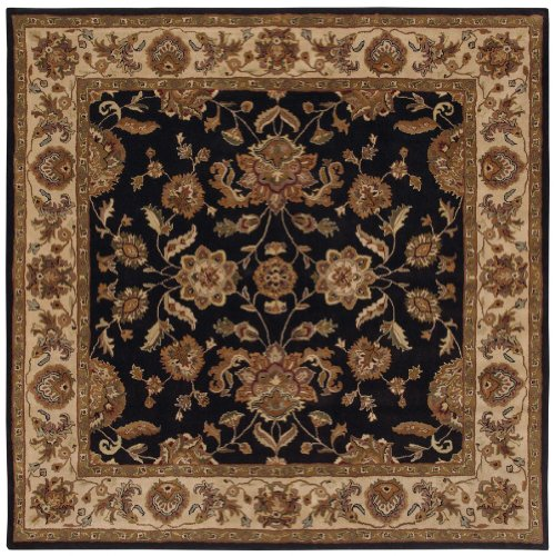 LR Resources Traditional Square Area Rug 9' Black-Ivory Shapes Collection