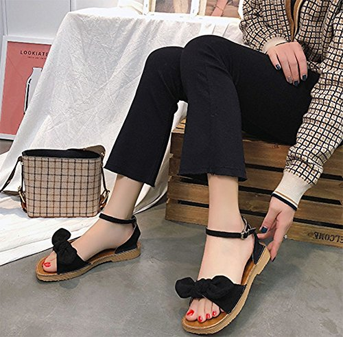 Sandalias Zapatos Arco Salvaje Con Suave Meili Verano Simple Fondo Romanos Un Cuadrado Estudiantes Femenino Planos 7d4w55q