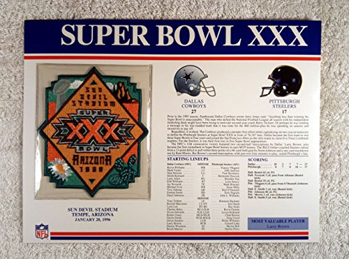 Super Bowl Xxx  1996    Official Nfl Super Bowl Patch With Complete Statistics Card   Dallas Cowboys Vs Pittsburgh Steelers   Larry Brown Mvp