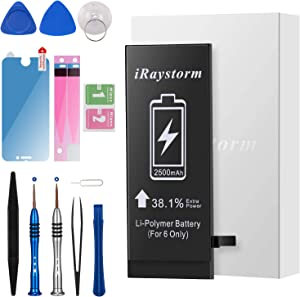 iRaystorm Battery Compatible for iPhone 6 2500mAh High Capacity Replacement Battery 0 Cycle with Complete Repair Tool Kits, Adhesive, Instructions & Screen Protector