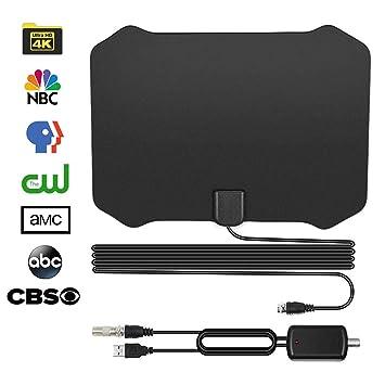 Antena de TV, Antena Interior HDTV con Portatil Amplificador, 120 Millas Gama de Recepción, Obtenga Muchos Canales de TV Gratis Compatible VHF/UHF/FM ...