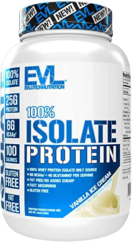 Evlution Nutrition 100 Isolate, Whey Isolate Protein Powder, 25 G of Fast Absorbing Protein, No Sugar Added, Low-Carb, Gluten-Free Vanilla Ice Cream, 1.6 LB