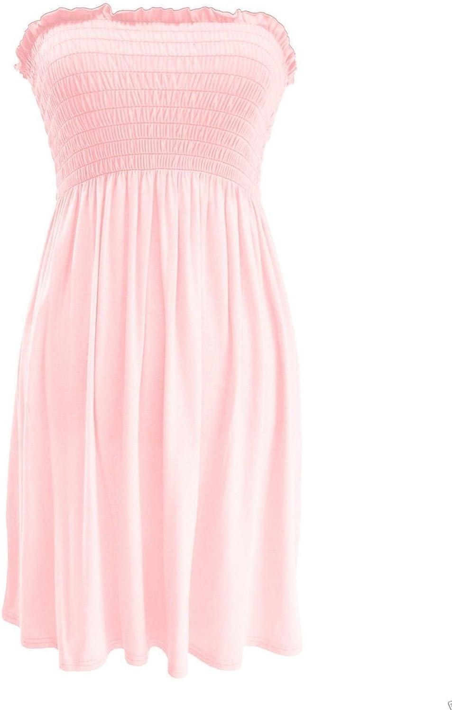 Womens Strapless Maxi Dress Ladies Sheering Boobtube Bandeau Long Plus Size 8-24