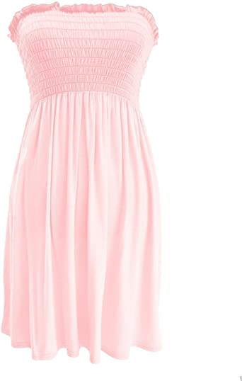Womens Strapless Maxi Dress Ladies Sheering Boob tube Bandeau Long Size 8-24