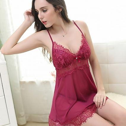 XN Charm Pijamas Encajes Encaje Encanto Hembra Traje Transparente Tentación Fino Ropa Interior Mujer,Mi