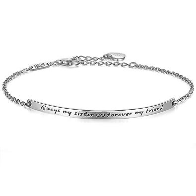 """313342e40f5c6 Billie Bijoux 925 Sterling Silver Engraved Inspirational Adjustable Bracelet  – """"Always My Sister, Forever"""