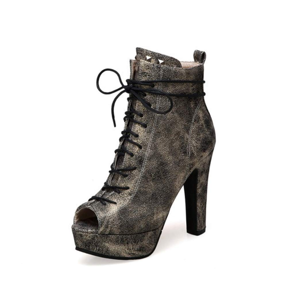 B 36 Ladies Sandals 2019 Boots Pu Ankle shoes Laced Zipper High Heels Novelty shoes Wedding Party & Evening Black gold,B,36