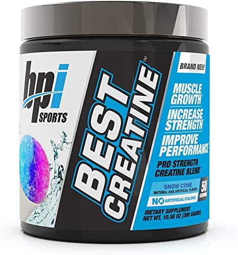 BPI Sports Best Creatine – Creatine Monohydrate, Himalayan Salt – strength, Pump, Endurance, Muscle Growth, Muscle Definition – No Bloat – Snow Cone – 50 servings – 10.58 Oz