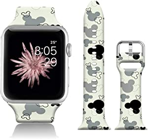 FTFCASE Sport Watch Bands Compatible with iWatch 44mm 42mm iWatch SE & Series 6 - Cartoon Gray Tile Pattern, Flower Printed Soft Silicone Strap Replacement for iWatch Series 6 5 4 3 2 1 for Women Men