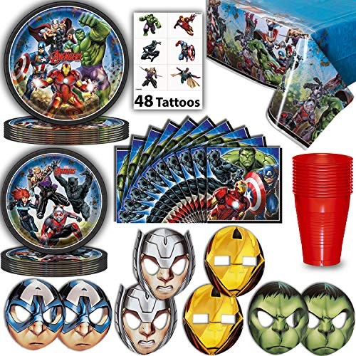 Avengers Party Supplies for 16 - Large Plates,
