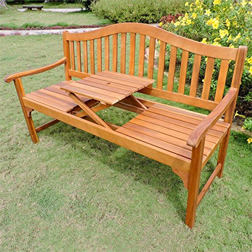 Cheap International Caravan Royal Fiji Adjustable Patio Bench in Stain
