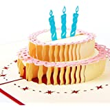 NOCTUA Birthday Cake 3D Greeting Pop Up Card Birthday Card Birthday Cake (Style E Birthday Cake)
