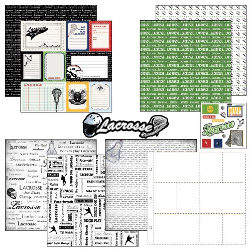 Scrapbook Customs Themed Paper and Stickers Scrapbook Kit, Lacrosse Journal