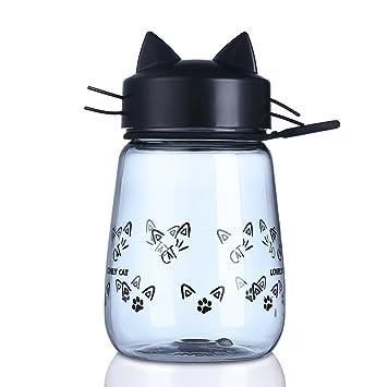 Bonita botella de plástico con forma de gato, para agua o zumo, apta para
