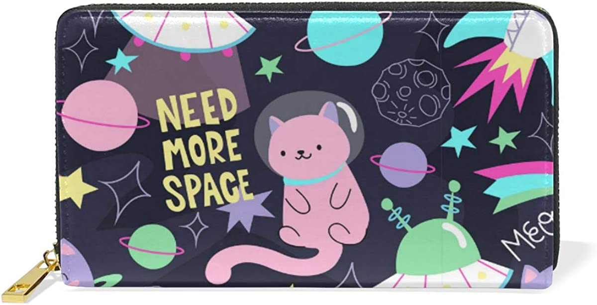 Colorful Doodle Cats Space Words Wallet for Women Leather Zipper Phone Coin Purse