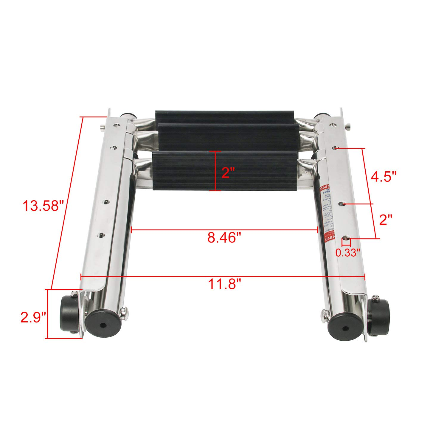 NovelBee 3 Step Undermount Sliding Boat Ladder Stainless Steel Telescoping Swim Boarding Ladder with Pop-N-Lock to Shrink The Ladder into The Slot