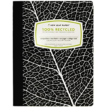 New Leaf Basic 100% Recycled Paper Composition Book, 100 Sheets, 9.75 x 7.5 Inches, College Ruled, Black Leaf (4512305)