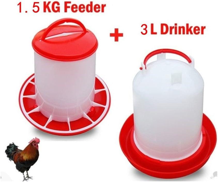 Capacidad 16 kg de Pienso Comedero de Pl/ástico Colgante para Alimentar Aves de Corral Gallinas y P/ájaros