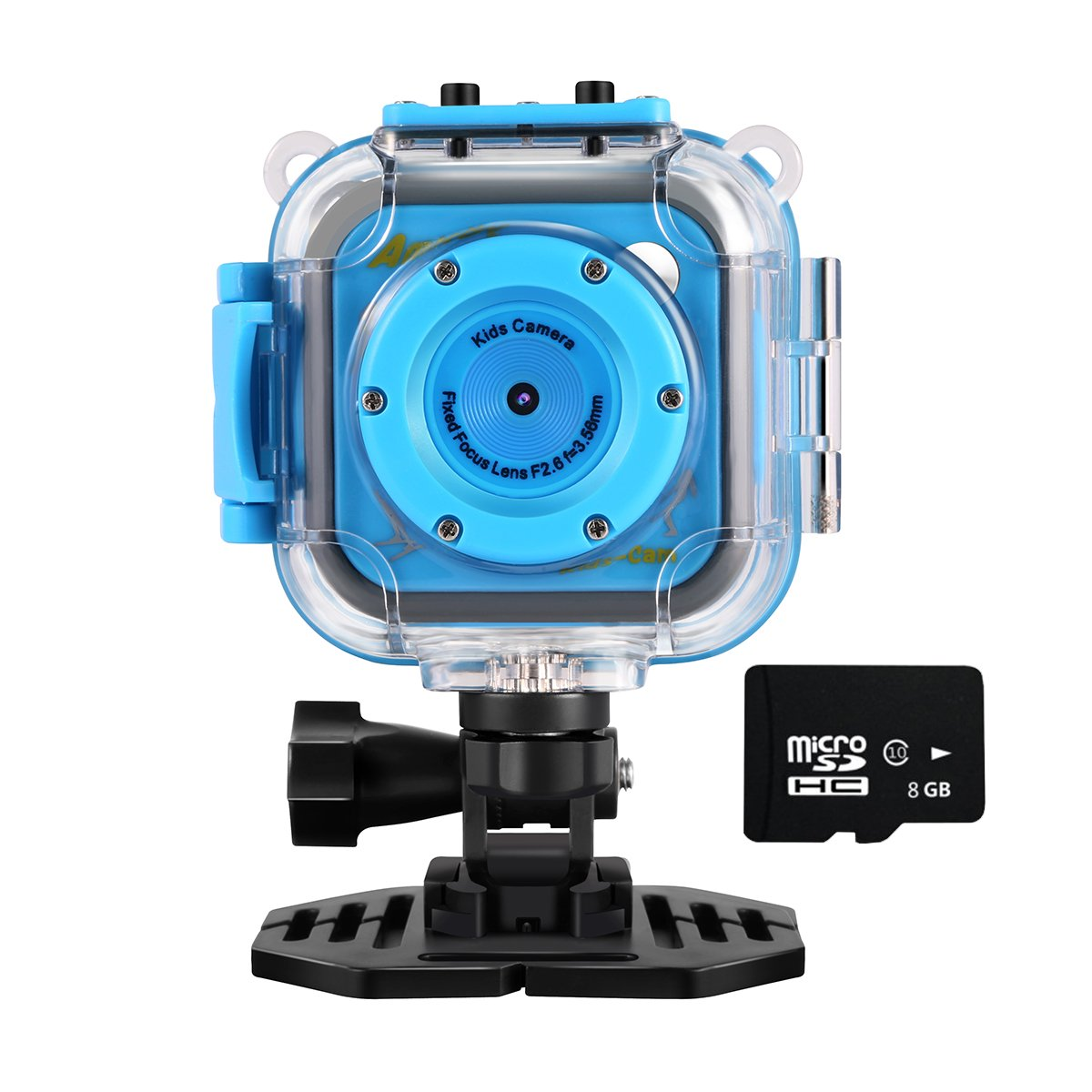 Kids Action Camera with Memory Card, Amkov Waterproof Sports Camera HD Camcorder for Boy Girls Holiday Birthday Gift Children Outdoor Adventure Camera with Helmet & Handlebar Bike Mounts